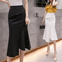 skirt Spring 2021 S,M,L,XL,2XL White, black, red Middle-skirt commute High waist Irregular Solid color Type A 18-24 years old LZ123 51% (inclusive) - 70% (inclusive) brocade other Korean version