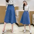 skirt Spring 2021 S,M,L,XL blue Mid length dress Versatile High waist Umbrella skirt Solid color Type A 25-29 years old C1204 51% (inclusive) - 70% (inclusive) Denim cotton Button
