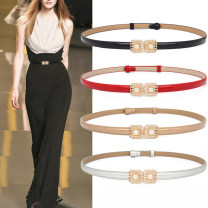 Belt / belt / chain Double skin leather female belt Versatile Single loop Youth, youth, middle age a hook Glossy surface Glossy surface 1.5cm alloy