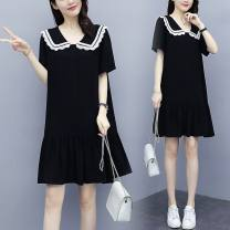 Women's large Summer 2021 black Dress Two piece set commute easy thin Socket Short sleeve Solid color Korean version Admiral Medium length Cotton, nylon Three dimensional cutting routine 25-29 years old Three dimensional decoration 81% (inclusive) - 90% (inclusive) Medium length Ruffle Skirt other