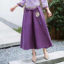 skirt Spring 2020 Average size Purple, pink longuette Versatile Natural waist other Solid color Type H 25-29 years old 31% (inclusive) - 50% (inclusive) other hemp Sticking cloth