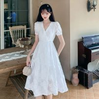Dress Summer 2020 white S,M,L longuette singleton  Short sleeve commute V-neck High waist Solid color other Big swing puff sleeve Others 25-29 years old Retro 8100 spot 31% (inclusive) - 50% (inclusive) other