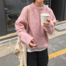 sweater Autumn of 2018 Average size Coffee Pink Blue apricot Long sleeves Socket singleton  Regular other 81% (inclusive) - 90% (inclusive) Crew neck Regular commute routine Solid color Straight cylinder 18-24 years old
