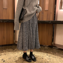 skirt Autumn of 2018 Average size White, black Mid length dress Versatile High waist other Solid color More than 95% Other / other polyester fiber