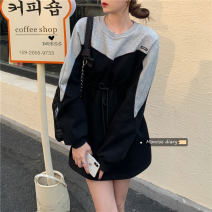 Dress Winter 2020 Gray, black Average size Short skirt singleton  Long sleeves commute Crew neck Loose waist Socket A-line skirt routine Others 18-24 years old Type H Other / other Korean version 30% and below other