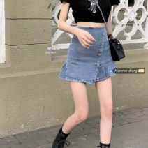 skirt Summer 2020 S,M,L Wash blue Short skirt commute High waist Solid color Type A 18-24 years old 30% and below fold Korean version