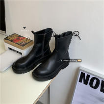 Boots 35,36,37,38,39 black top layer leather Other / other Flat heel (1cm or less) Flat bottom top layer leather Short tube Round head PU PU Autumn 2020 solar system rubber Solid color Fashion boots Adhesive shoes Youth (18-40 years old) spring and autumn waterproof Shaving