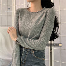 T-shirt Brown, apricot, light blue, gray, black Average size Autumn 2020 Long sleeves Crew neck Self cultivation Regular routine commute other 30% and below 18-24 years old Korean version Solid color