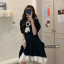 Dress Summer 2021 navy blue Average size Short skirt singleton  Short sleeve commute Admiral High waist Solid color Others 18-24 years old Type A Retro 30% and below