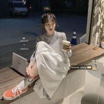 Dress Spring 2021 White suspender, decor dress Average size Mid length dress singleton  Sleeveless commute High waist other other camisole 18-24 years old Korean version 30% and below other