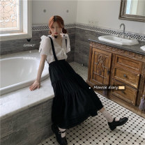 Dress Spring 2021 Black skirt 9187, white shirt 9185 Average size Mid length dress singleton  commute High waist Solid color straps 18-24 years old Type A Retro 30% and below