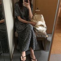 Dress Summer 2021 Grey, green Average size Mid length dress singleton  Short sleeve commute Crew neck High waist Socket Others 18-24 years old Korean version 30% and below