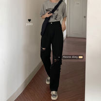 Jeans Summer 2020 black S,M,L trousers High waist Knickerbockers routine 18-24 years old Dark color 30% and below