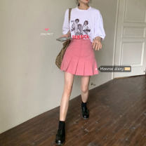 skirt Spring 2021 S, M White, black, pink Short skirt Versatile High waist Pleated skirt Solid color 18-24 years old 30% and below other