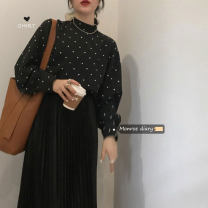 shirt White dots on black background Average size Winter 2020 other 30% and below Long sleeves commute Regular Half high collar Socket bishop sleeve Dot 18-24 years old Straight cylinder Korean version