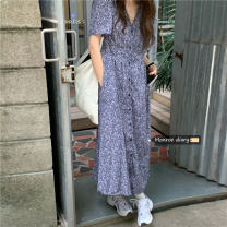 Dress Spring 2021 blue Average size Mid length dress singleton  Long sleeves commute V-neck High waist Solid color Socket A-line skirt routine Others 18-24 years old Type A Retro printing 30% and below Chiffon