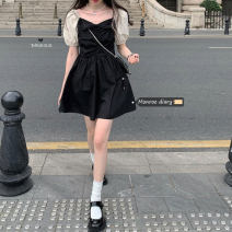 Dress Summer 2021 Dress 11132, top 11133 S,M,L Short skirt singleton  Short sleeve commute square neck High waist Solid color Socket puff sleeve Others 18-24 years old Type A Retro bow 30% and below