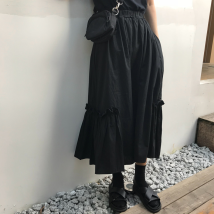 skirt Autumn of 2018 Average size black Mid length dress commute High waist Ruffle Skirt Solid color Type A 18-24 years old Korean version