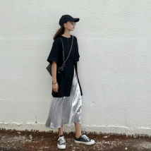 Casual suit Summer of 2018 Black split t silver skirt Average size
