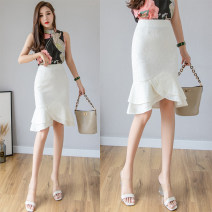 skirt Spring 2021 S,M,L,XL,2XL,3XL,4XL,5XL White, black Middle-skirt Versatile High waist Ruffle Skirt other Type X 71% (inclusive) - 80% (inclusive) Lace nylon Lace 201g / m ^ 2 (including) - 250G / m ^ 2 (including)