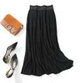 skirt Autumn 2020 Average size black Mid length dress commute Natural waist A-line skirt stripe Type A 51% (inclusive) - 70% (inclusive) Viscose