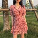 Nursing clothes Red dress, yellow dress S,M,L,XL Nursing Dress Socket summer Short sleeve Medium length Dress Chiffon