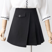 skirt Spring 2021 S,M,L,XL black Short skirt commute High waist A-line skirt Solid color Type A 18-24 years old 81% (inclusive) - 90% (inclusive) other other zipper Korean version