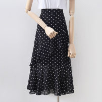skirt Summer 2021 S,M,L,XL black Mid length dress commute High waist A-line skirt Solid color Type A 18-24 years old 91% (inclusive) - 95% (inclusive) other other Lotus leaf edge Korean version