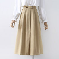 skirt Spring 2021 S,M,L Khaki, black Mid length dress commute High waist A-line skirt Solid color Type A 18-24 years old 91% (inclusive) - 95% (inclusive) other other Button Korean version