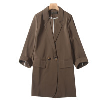 suit Spring 2021 Brown, black M,L,XL Long sleeves routine Self cultivation other double-breasted Versatile routine Solid color CWT2088 30-34 years old 96% and above polyester fiber pocket