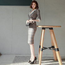 Dress Spring 2021 Lattice (in stock) S,M,L,XL Middle-skirt singleton  elbow sleeve commute tailored collar High waist lattice zipper One pace skirt routine Others 18-24 years old Korean version Bowknot, stitching, zipper 81% (inclusive) - 90% (inclusive) other