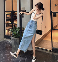 skirt Spring 2021 S,M,L,XL Blue in stock Mid length dress Versatile High waist Denim skirt Solid color Type A 18-24 years old Denim