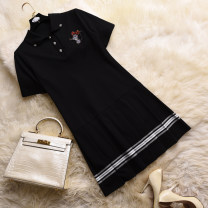 Dress Spring 2021 black S,M,L,XL Middle-skirt singleton  Short sleeve commute Doll Collar middle-waisted Solid color Three buttons other routine Others Type A Fragrant snow field Simplicity A004107 51% (inclusive) - 70% (inclusive) other cotton