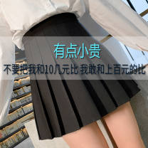 skirt Summer 2020 Short skirt Sweet High waist A-line skirt Solid color Type A 18-24 years old 30% and below knitting Other / other polyester fiber Pleats, zippers 401g / m ^ 2 (inclusive) - 500g / m ^ 2 (inclusive) college
