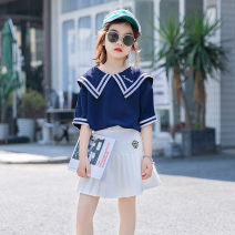 suit Other / other White, Navy 120 cm, 120 cm, 120 cm, 120 cm, 120 cm, 120 cm, 120 cm, 120 cm, 120 cm, 120 cm, 120 cm female summer Korean version Short sleeve + skirt 2 pieces There are models in the real shooting Socket nothing Class B Other 100%