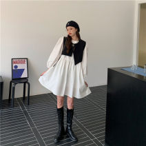 Dress Spring 2021 White, black Average size Middle-skirt Two piece set Long sleeves Crew neck Socket routine 18-24 years old Other / other other