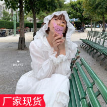 Dress Spring 2021 white Average size longuette singleton  Long sleeves commute Hood High waist Solid color Socket other pagoda sleeve Others 18-24 years old Other / other Korean version 31% (inclusive) - 50% (inclusive) cotton