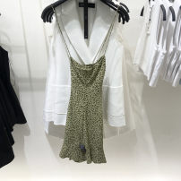Dress Summer 2021 Picture color, Brown Leopard Print XS,S,M,L,XL Short skirt singleton  Sleeveless street V-neck High waist Solid color zipper routine camisole Type H backless cotton