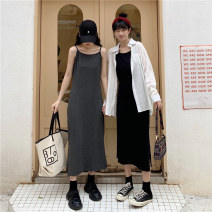 Dress Summer 2020 Black, dark grey M,L,XL longuette singleton  Sleeveless commute Crew neck High waist Solid color Socket other camisole 18-24 years old Type H Korean version 31% (inclusive) - 50% (inclusive) other cotton