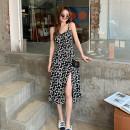 Dress Summer 2021 Petal suspender skirt S,M,L,XL,2XL Mid length dress singleton  Sleeveless commute High waist Broken flowers camisole Korean version 71% (inclusive) - 80% (inclusive)