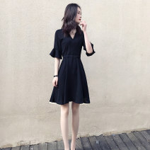 Dress Summer 2020 black S,M,L,XL,2XL Mid length dress singleton  elbow sleeve commute V-neck High waist Solid color Socket A-line skirt Lotus leaf sleeve 18-24 years old Type A Korean version Ruffles, stitching, strapping 30% and below other