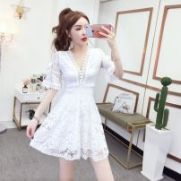 Dress Spring 2021 White, black M,L,XL Short skirt singleton  Short sleeve commute V-neck middle-waisted Big swing pagoda sleeve Others 18-24 years old Type A A21ABC Korean version Lace