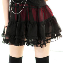 skirt Summer 2014 M average Red blue black Short skirt street Natural waist Cake skirt Solid color 18-24 years old QB-0243 Chiffon Dolly+Delly Splicing