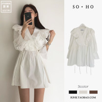 Dress Spring 2021 White, brown, black S,M,XL,L Short skirt singleton  Long sleeves commute V-neck High waist Solid color other A-line skirt pagoda sleeve Others 18-24 years old Type A Other / other Korean version Ruffles, folds, Auricularia auricula, lace, bandage More than 95% cotton