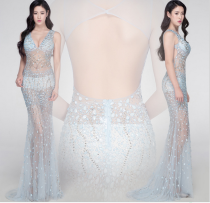 Dress / evening wear Weddings, adulthood parties, company annual meetings, daily appointments XS S M L XL Coral blue sexy longuette middle-waisted Spring 2017 fish tail Deep collar V Deep V style Swiss gauze Diamond ornament Solid color Resin drill