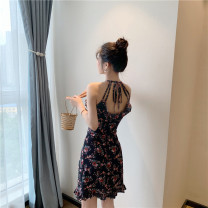 Dress Summer 2021 Picture color S,M,L Short skirt singleton  Sleeveless commute High waist Broken flowers other Ruffle Skirt camisole 18-24 years old Other / other Retro 31% (inclusive) - 50% (inclusive)