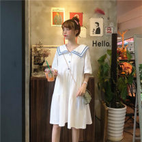 Dress Summer 2021 White, purple, green, blue, yellow, black, pink S,M,L Middle-skirt singleton  Short sleeve commute Doll Collar Loose waist Socket A-line skirt routine 25-29 years old Type A Korean version 71% (inclusive) - 80% (inclusive) cotton