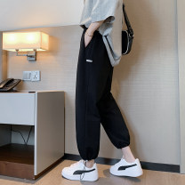 Casual pants Others Youth fashion Light grey, black S. M, l, XL, 2XL, XS plus small routine Ninth pants Other leisure easy Micro bomb spring teenagers Youthful vigor 2021 Medium high waist Little feet Polyester 65% cotton 35% Haren pants Sticking cloth Solid color cotton