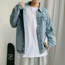 Jacket Other / other Youth fashion blue M. L, s, XL, 2XL, 3XL, 4XL, 5XL, XS plus small routine easy Other leisure autumn Long sleeves Wear out Lapel Japanese Retro Large size Medium length Single breasted 2020 Straight hem No iron treatment Solid color Denim Side seam pocket cotton