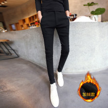 Casual pants Others Youth fashion Black with fleece, black without velvet 27,28,29,30,31,32,33,34,26 plus small Plush and thicken trousers Other leisure Self cultivation Micro bomb autumn teenagers tide 2020 middle-waisted Little feet No iron treatment Solid color